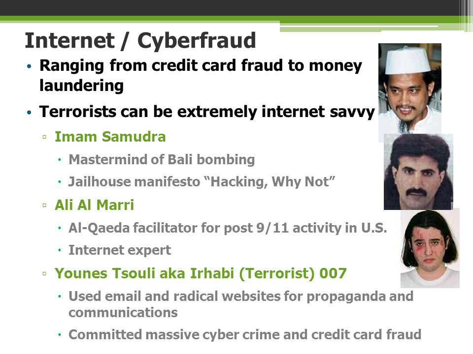 Internet / Cyberfraud Ranging from credit card fraud to money laundering. Terrorists can be extremely internet savvy.