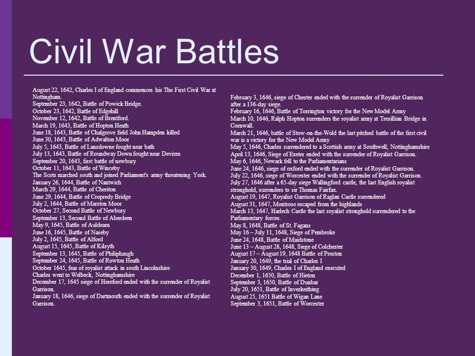 Civil War Battles August 22, 1642, Charles I of England commences his The First Civil War at Nottingham.