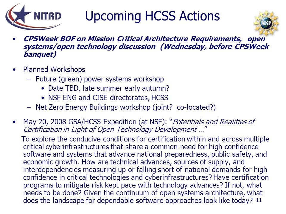 Upcoming HCSS Actions