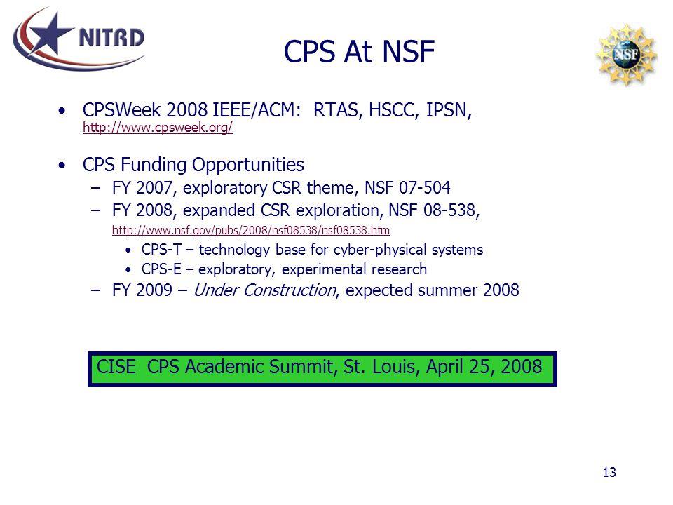 CPS At NSF CPSWeek 2008 IEEE/ACM: RTAS, HSCC, IPSN, http://www.cpsweek.org/ CPS Funding Opportunities.