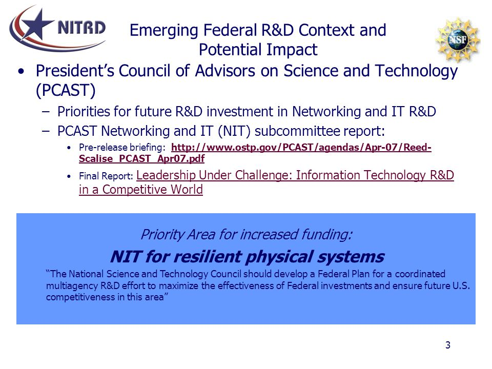 Emerging Federal R&D Context and Potential Impact