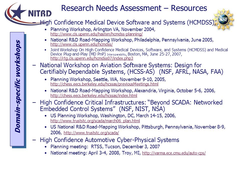 Research Needs Assessment – Resources