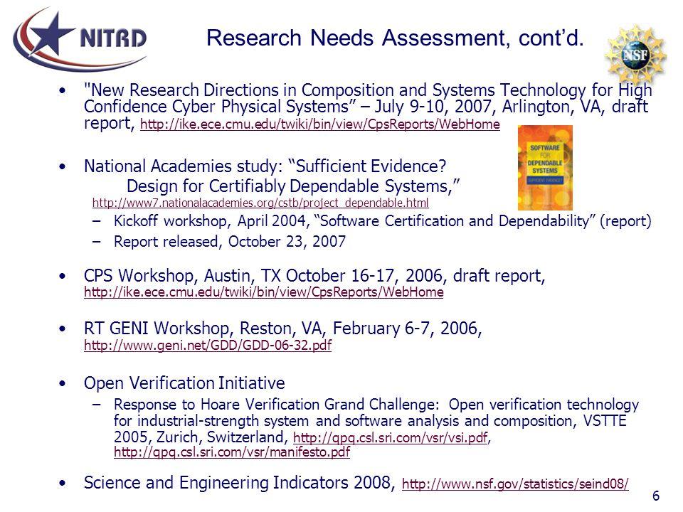 Research Needs Assessment, cont'd.