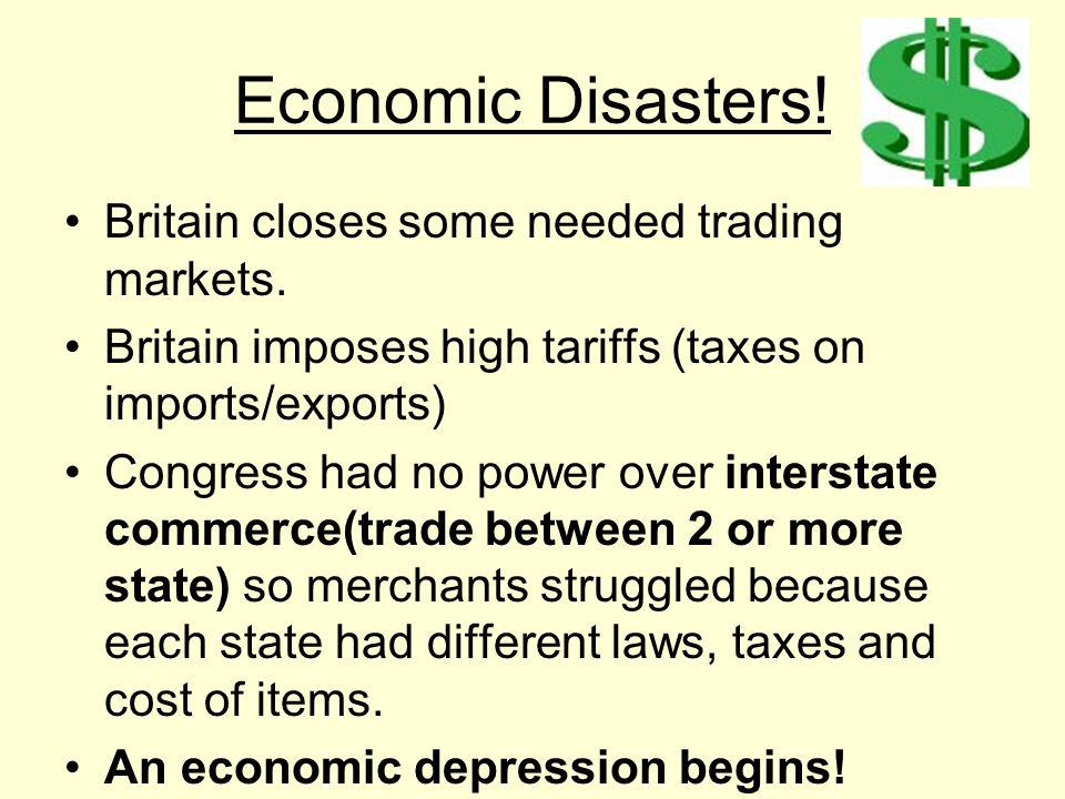 Economic Disasters! Britain closes some needed trading markets.
