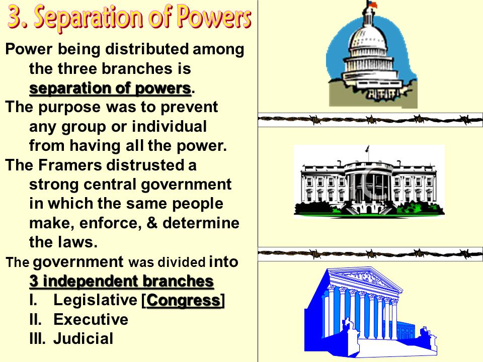 3. Separation of Powers Power being distributed among the three branches is separation of powers.