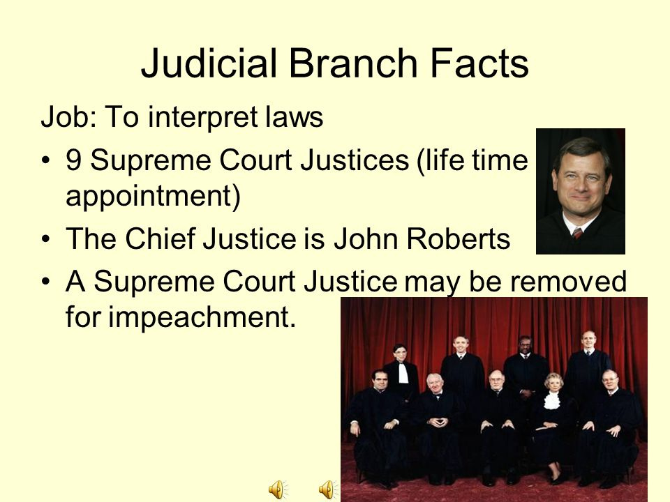 Judicial Branch Facts Job: To interpret laws