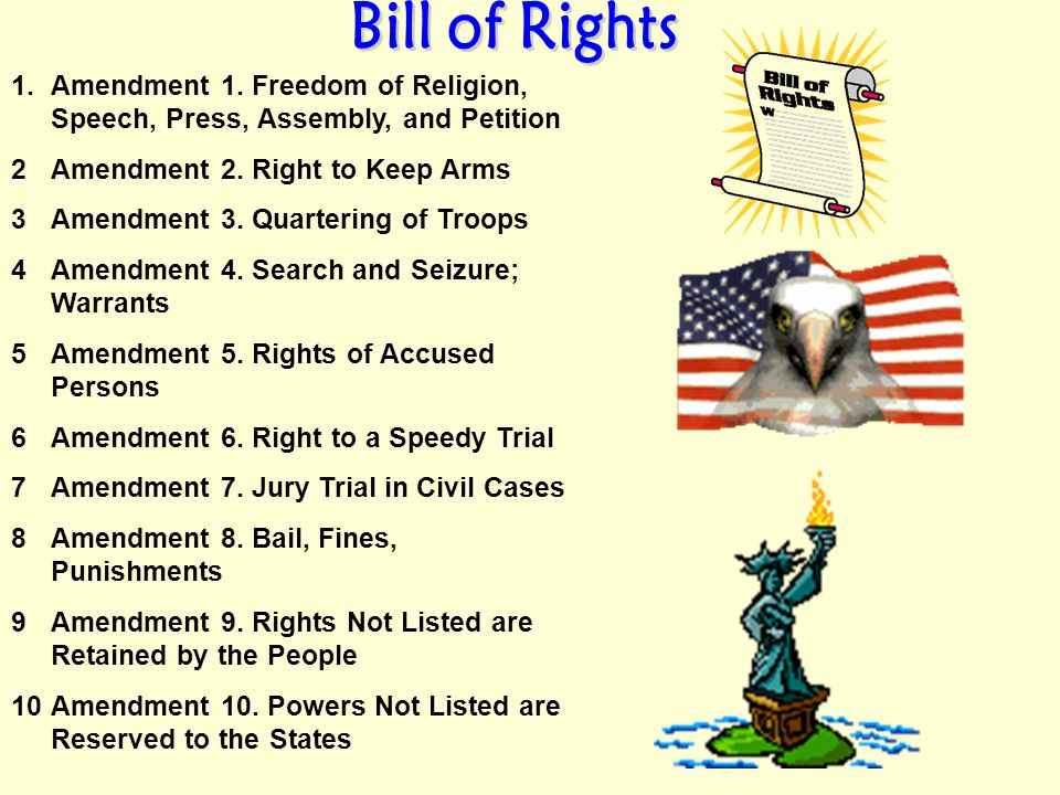 Bill of Rights Amendment 1. Freedom of Religion, Speech, Press, Assembly, and Petition. Amendment 2. Right to Keep Arms.