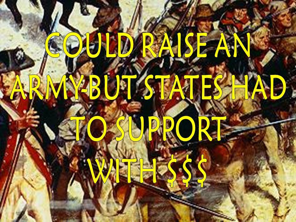 COULD RAISE AN ARMY-BUT STATES HAD TO SUPPORT WITH $$$