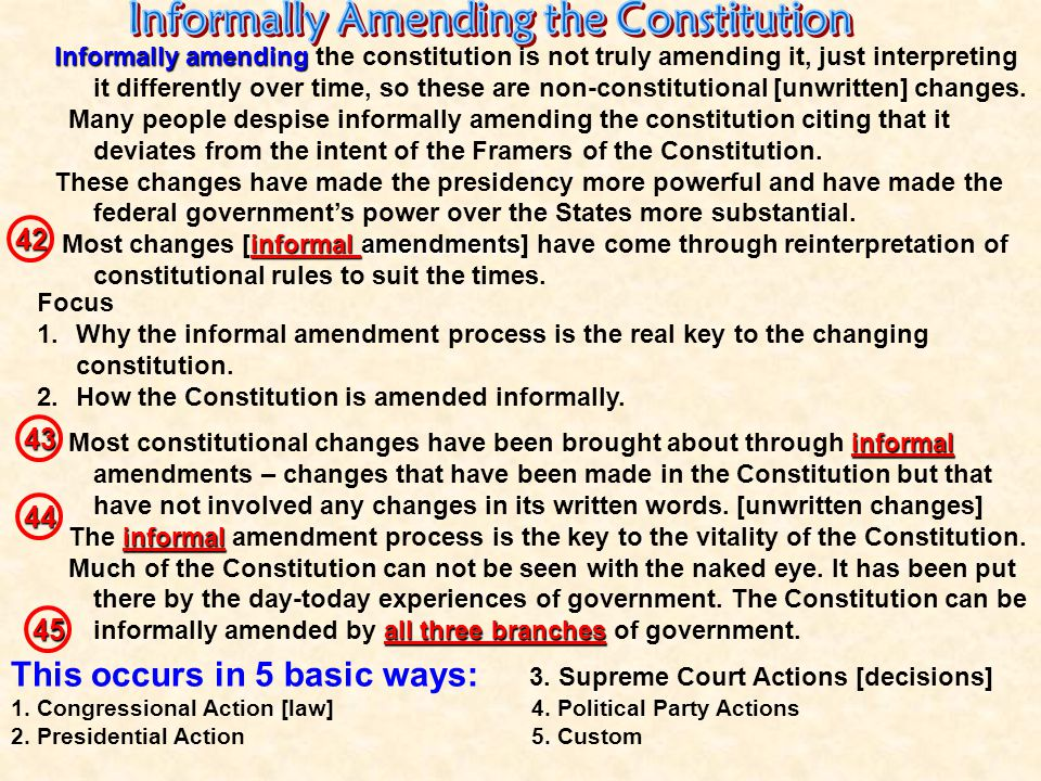 Informally Amending the Constitution