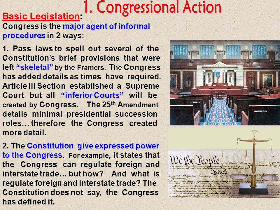 1. Congressional Action Basic Legislation: