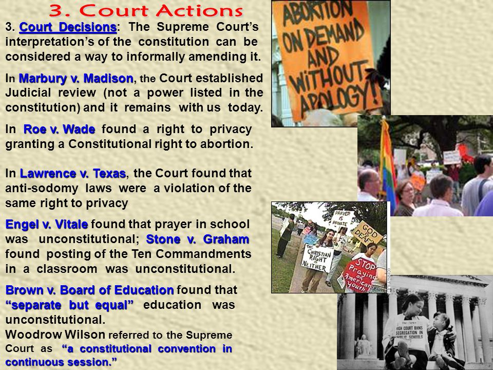 3. Court Actions 3. Court Decisions: The Supreme Court's