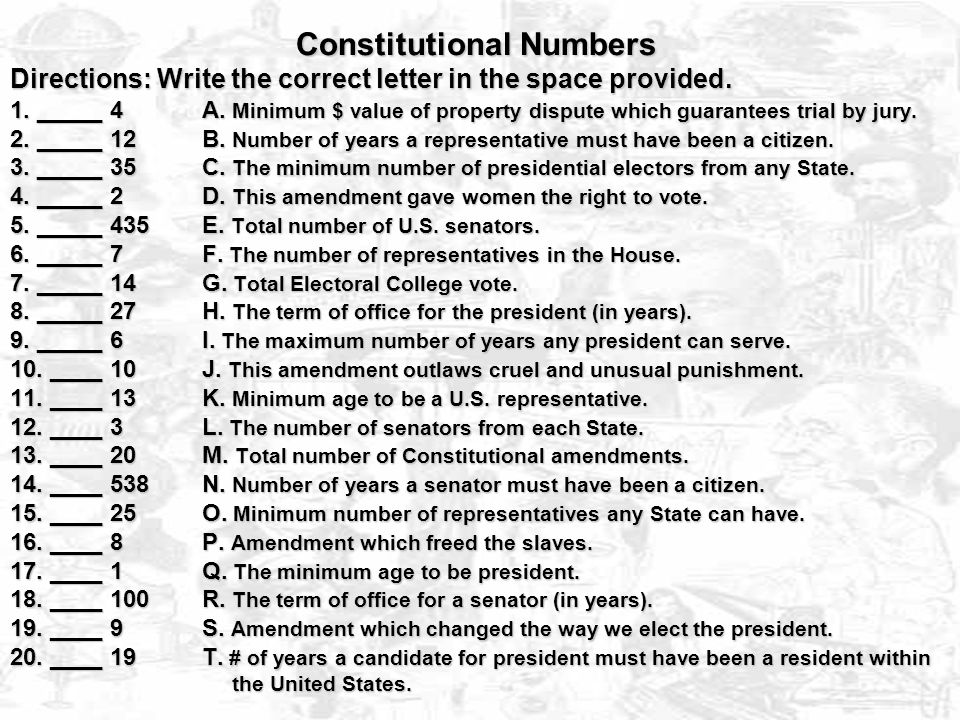 Constitutional Numbers Directions: Write the correct letter in the space provided.
