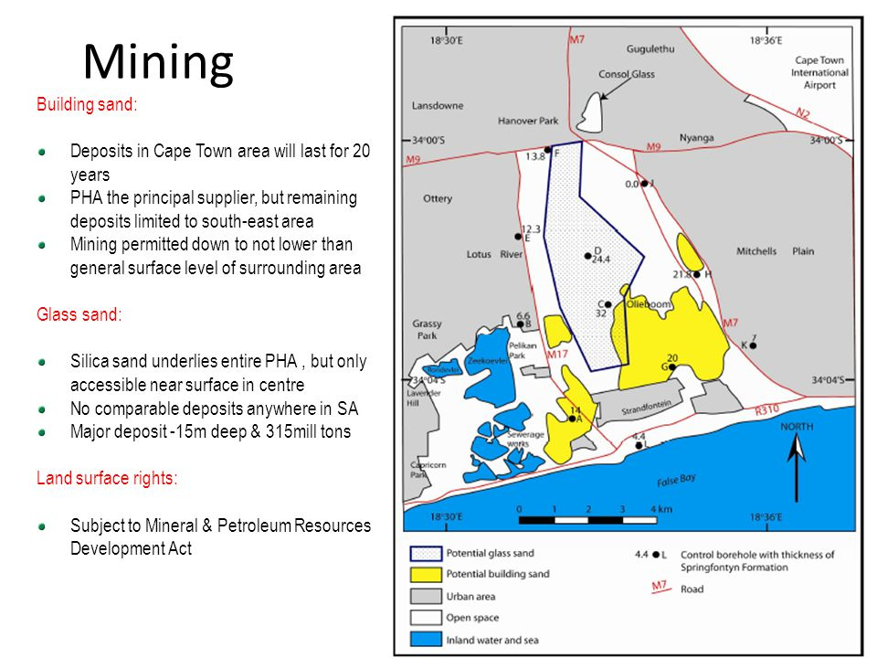 Mining Building sand: Deposits in Cape Town area will last for 20 years.