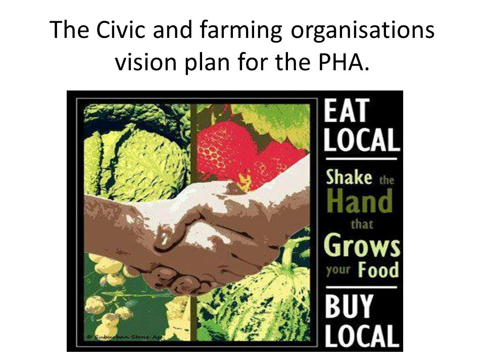 The Civic and farming organisations vision plan for the PHA.