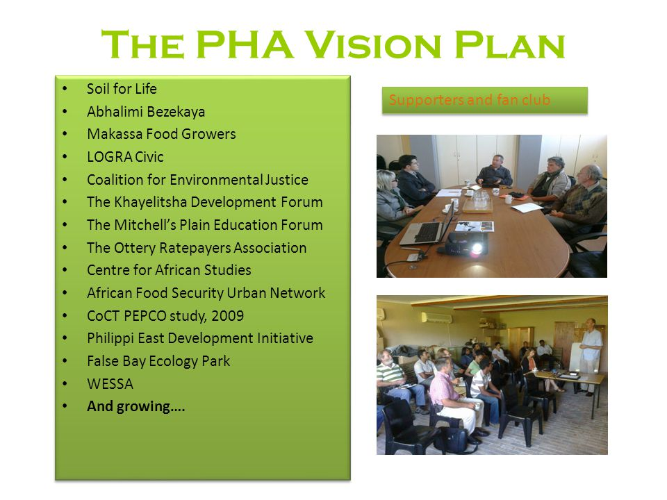 The PHA Vision Plan Supporters and fan club Soil for Life