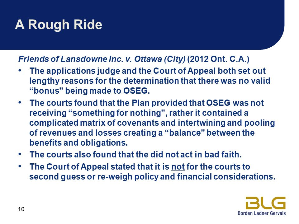 A Rough Ride Friends of Lansdowne Inc. v. Ottawa (City) (2012 Ont. C.A.)