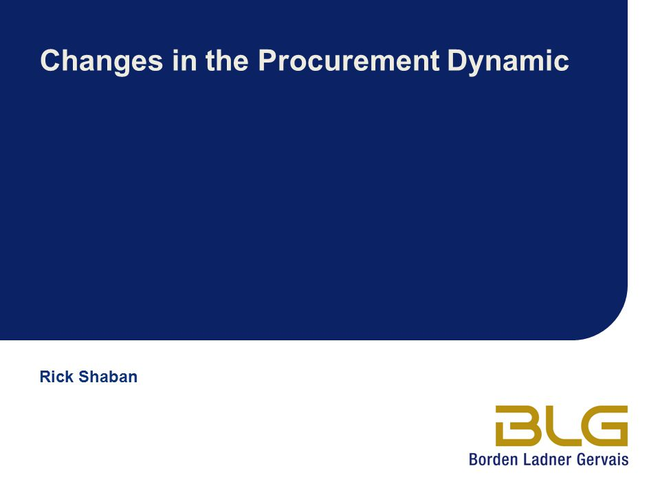 Changes in the Procurement Dynamic
