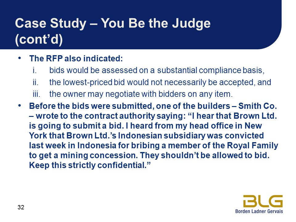 Case Study – You Be the Judge (cont'd)