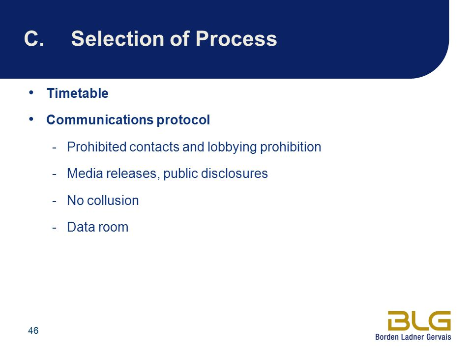 C. Selection of Process Timetable Communications protocol