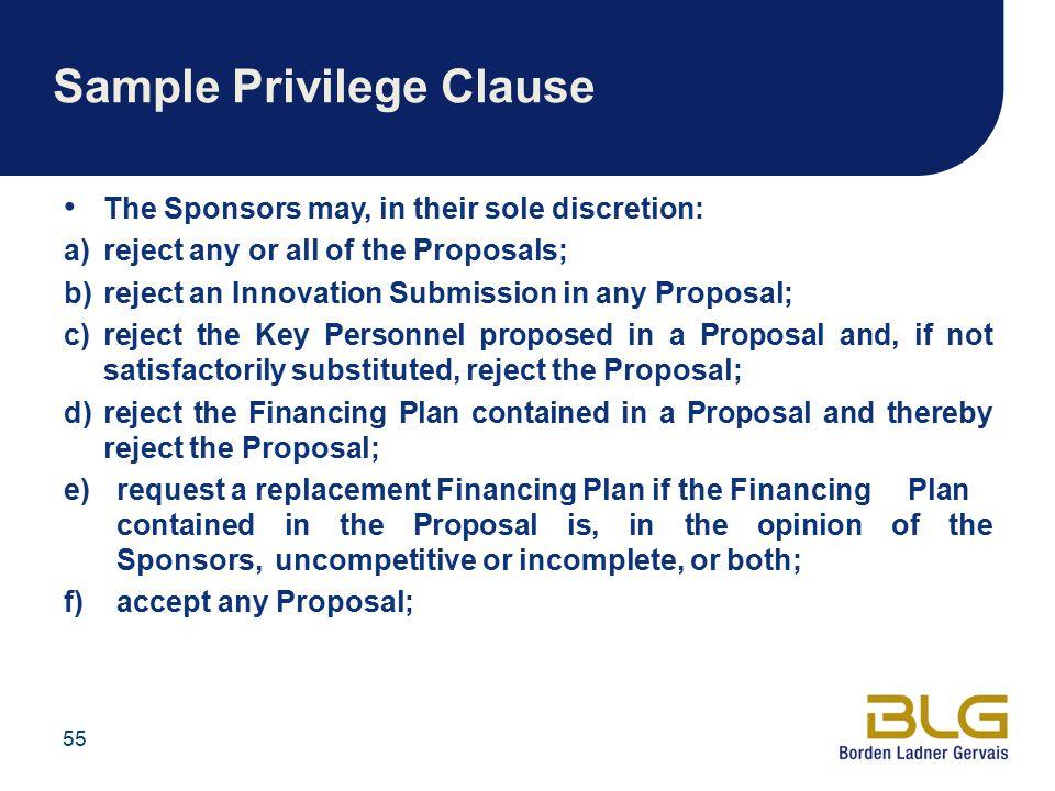 Sample Privilege Clause
