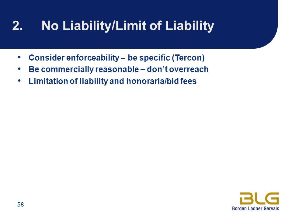 2. No Liability/Limit of Liability