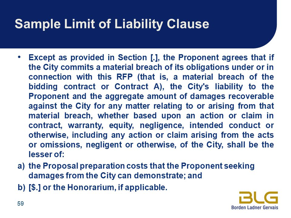 Sample Limit of Liability Clause