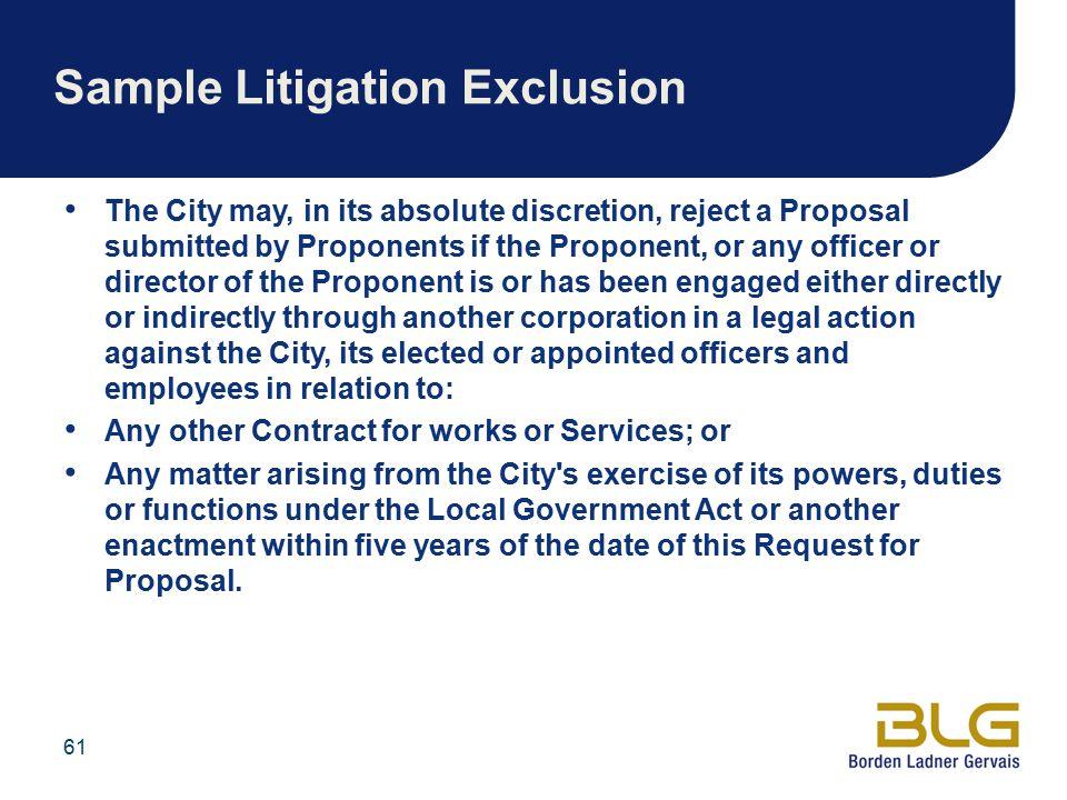 Sample Litigation Exclusion