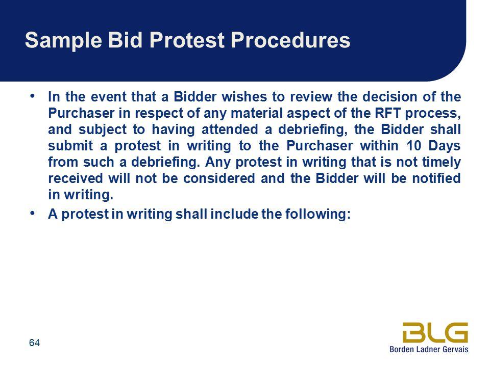 Sample Bid Protest Procedures