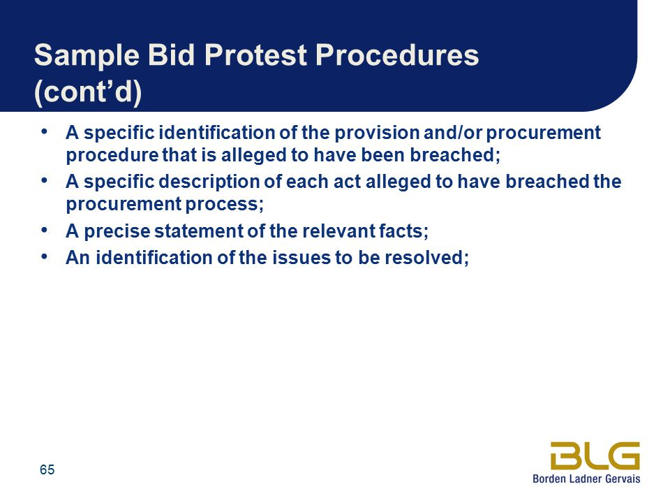 Sample Bid Protest Procedures (cont'd)