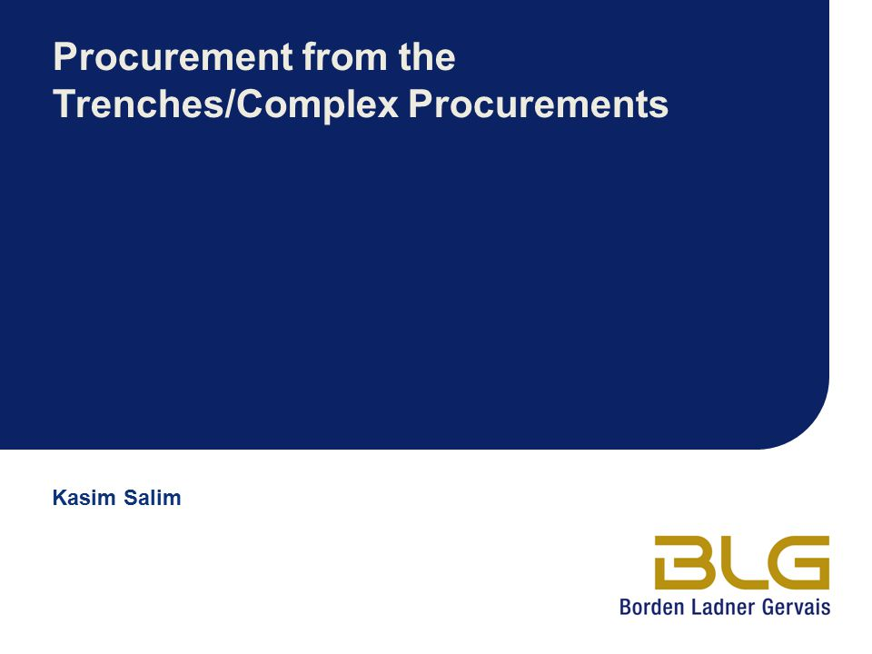 Procurement from the Trenches/Complex Procurements