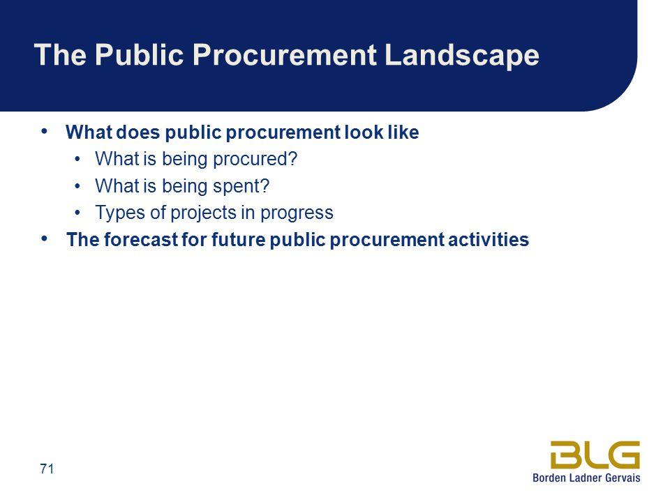 The Public Procurement Landscape