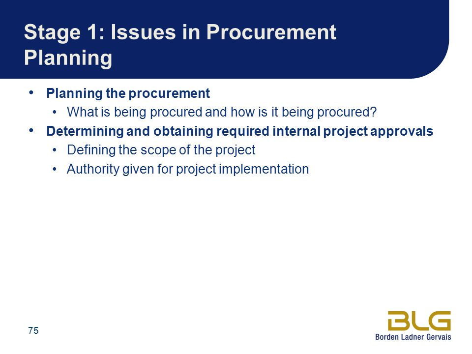 Stage 1: Issues in Procurement Planning