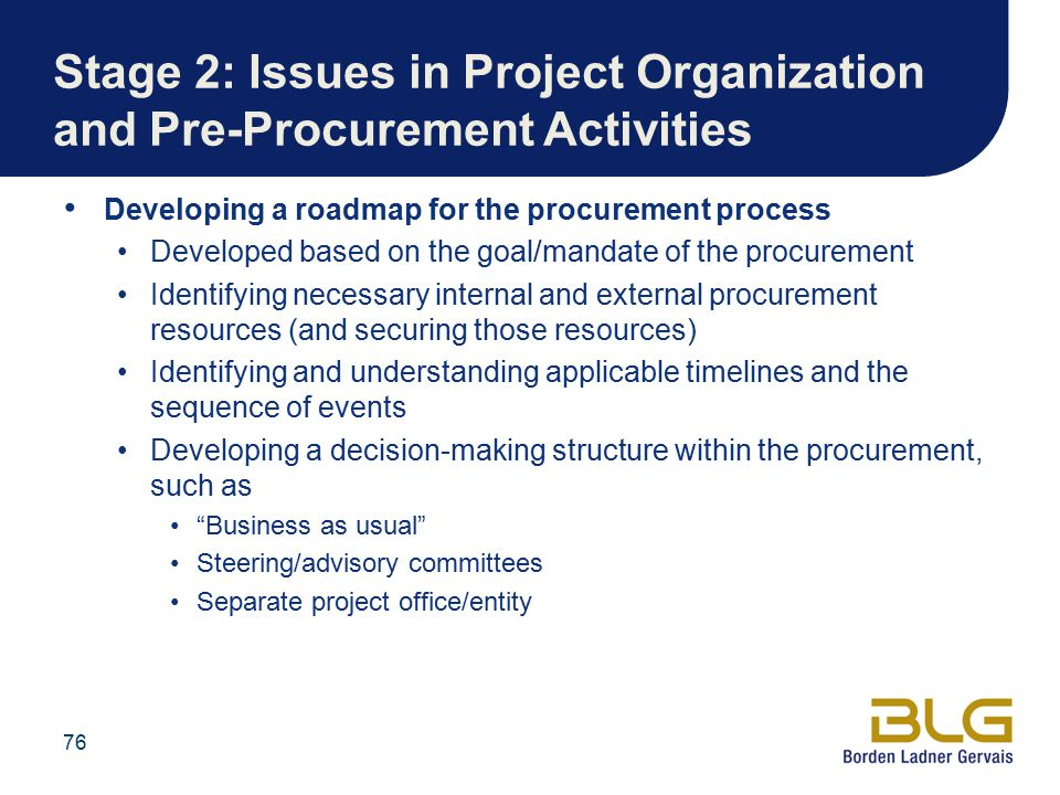 Stage 2: Issues in Project Organization and Pre-Procurement Activities