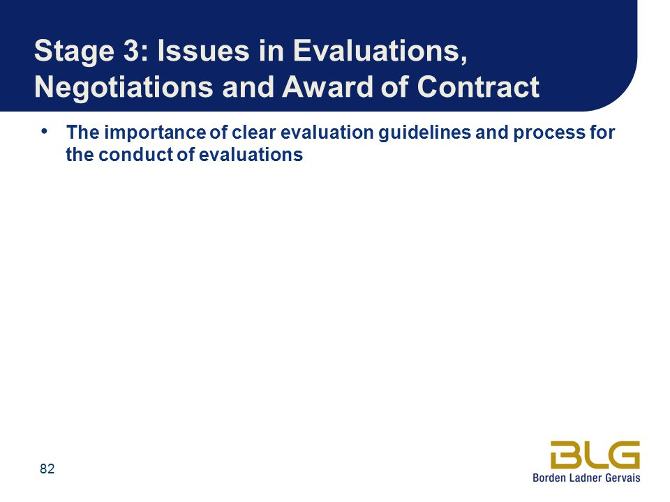 Stage 3: Issues in Evaluations, Negotiations and Award of Contract
