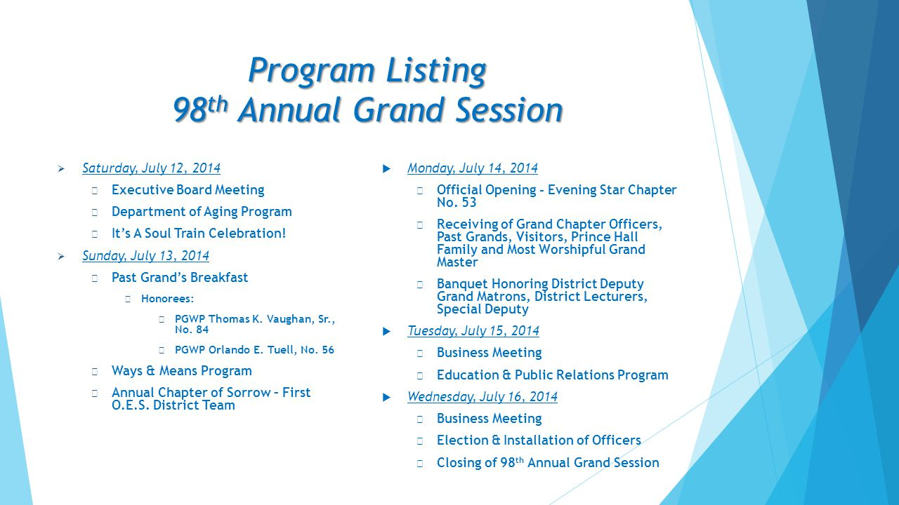 Program Listing 98th Annual Grand Session
