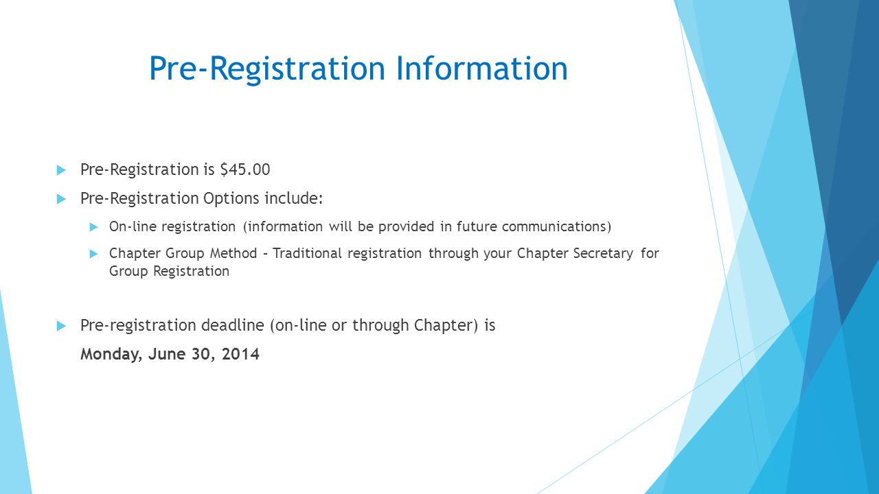 Pre-Registration Information