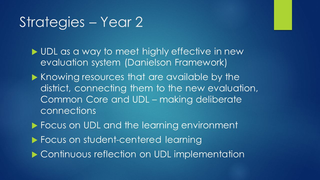 Strategies – Year 2 UDL as a way to meet highly effective in new evaluation system (Danielson Framework)