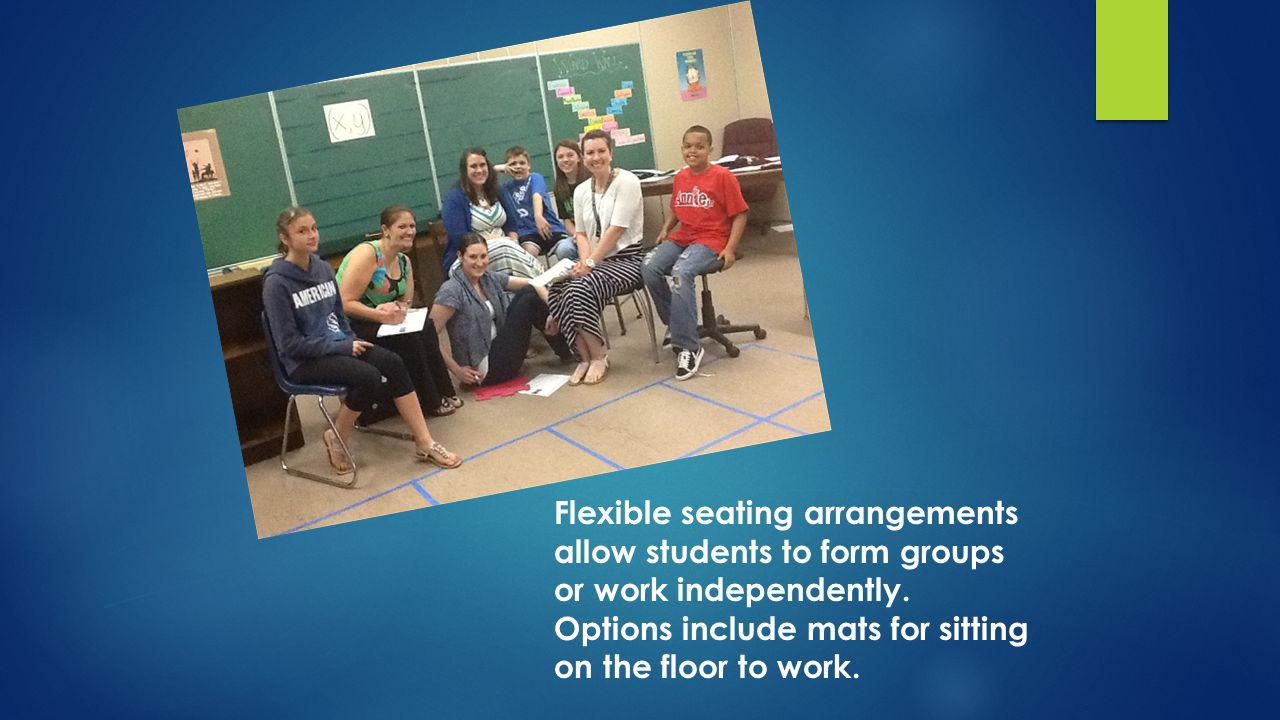 Flexible seating arrangements allow students to form groups or work independently.