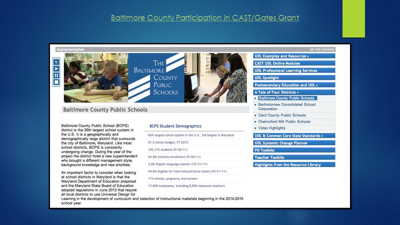 Baltimore County Participation in CAST/Gates Grant