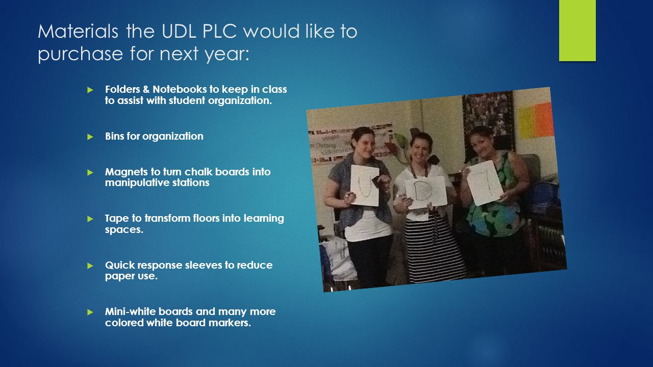 Materials the UDL PLC would like to purchase for next year: