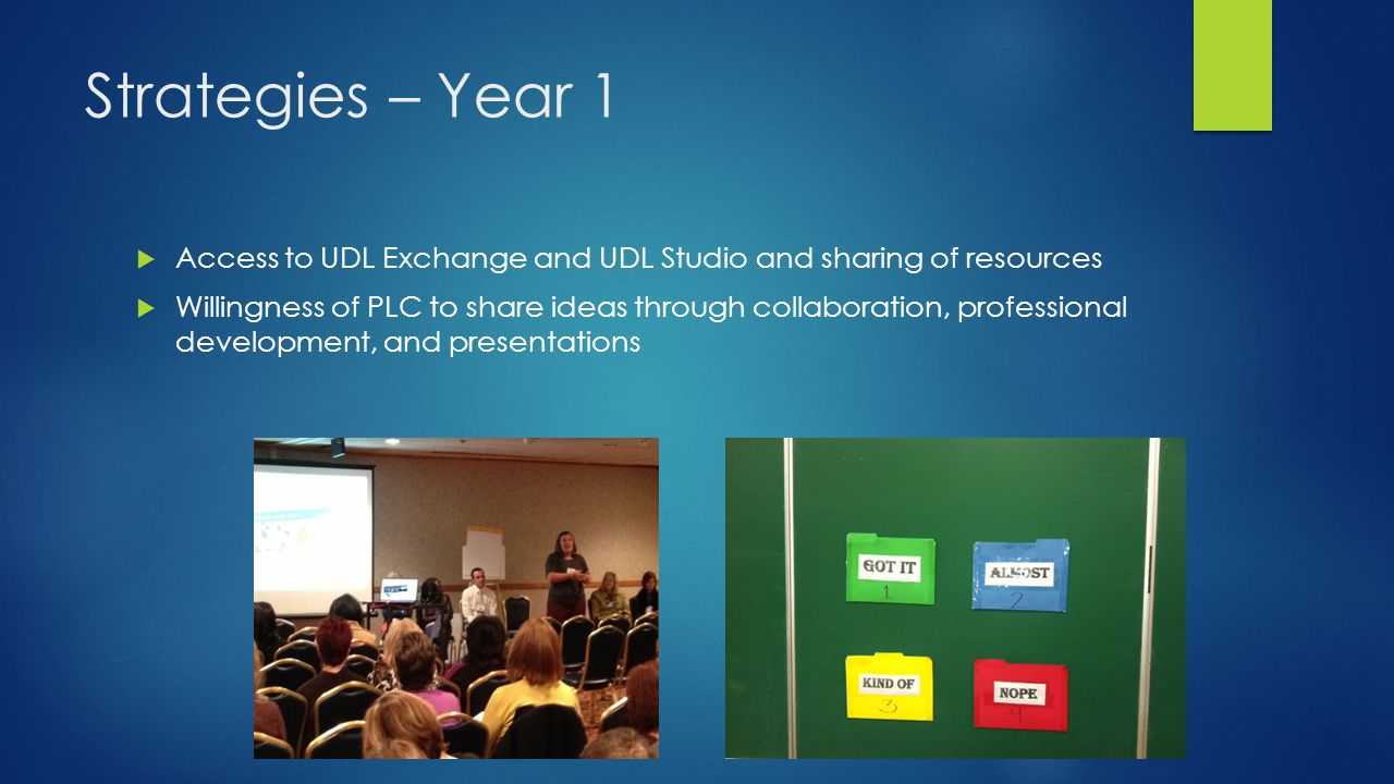 Strategies – Year 1 Access to UDL Exchange and UDL Studio and sharing of resources.