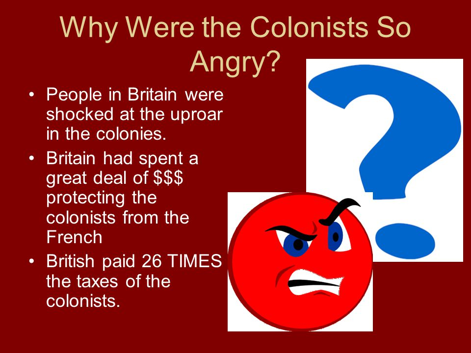 Why Were the Colonists So Angry