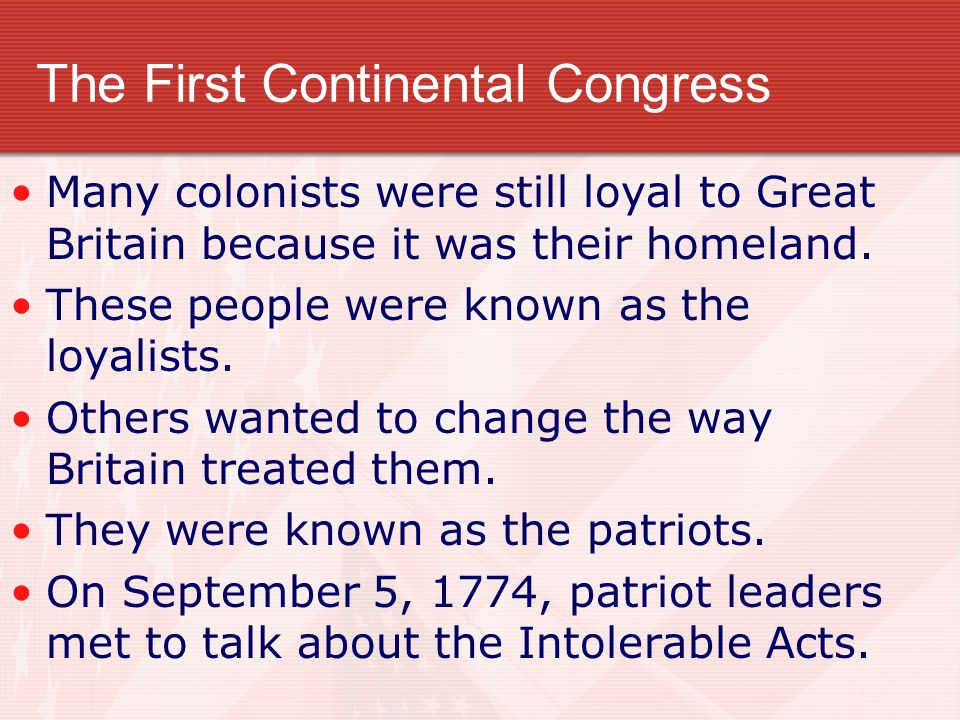 The First Continental Congress