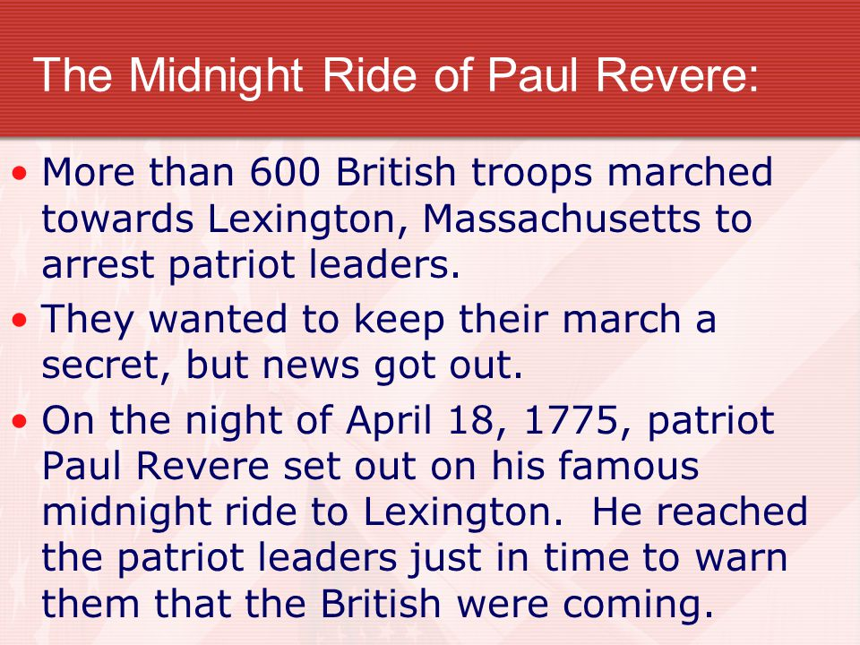 The Midnight Ride of Paul Revere: