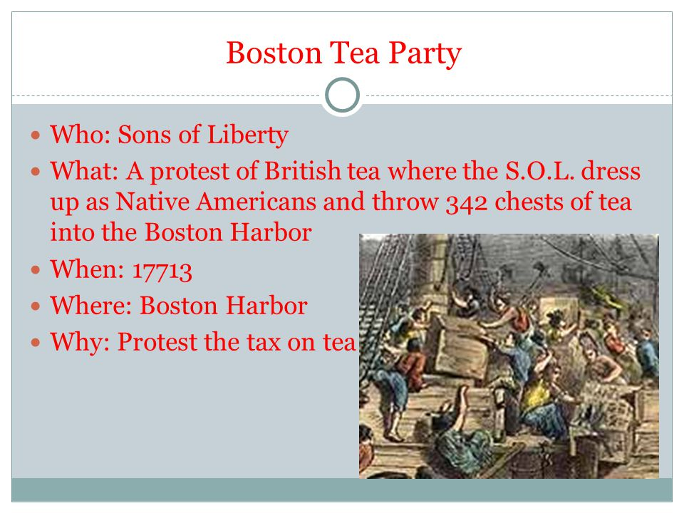 Boston Tea Party Who: Sons of Liberty