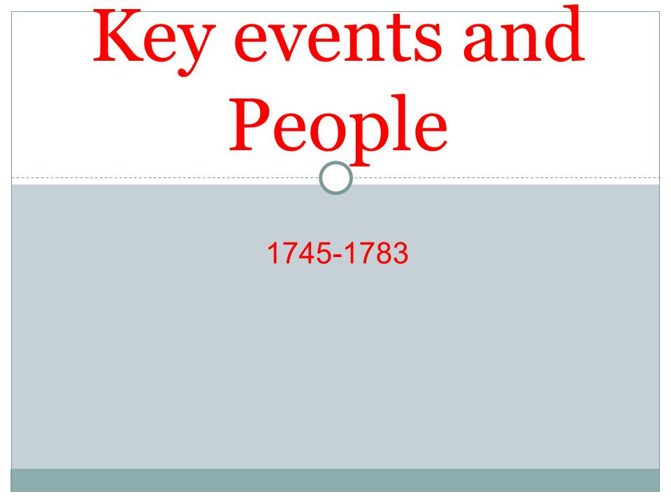 Key events and People 1745-1783
