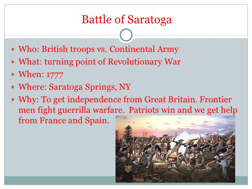 Battle of Saratoga Who: British troops vs. Continental Army