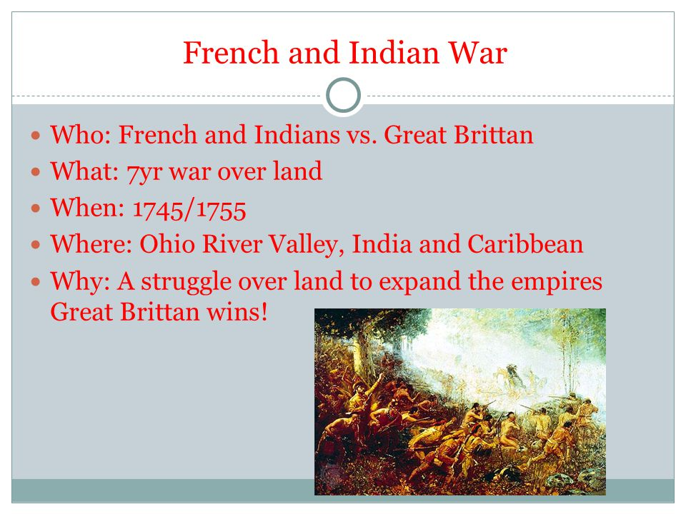 French and Indian War Who: French and Indians vs. Great Brittan