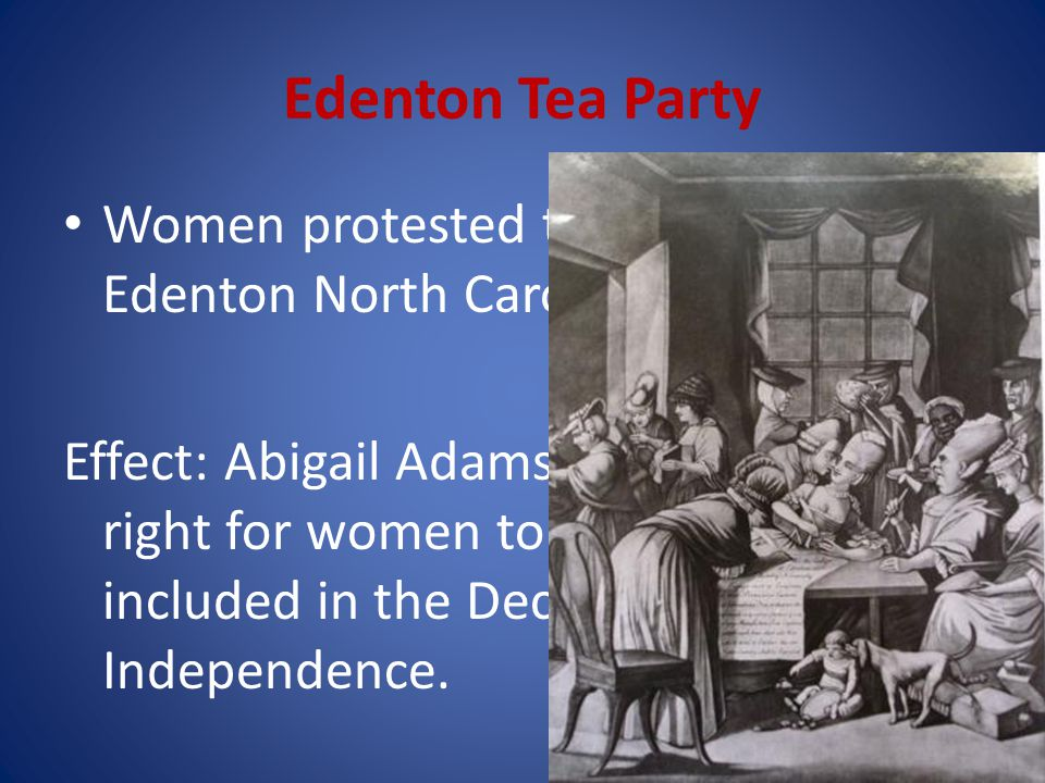 Edenton Tea Party Women protested the Tea Act in Edenton North Carolina.