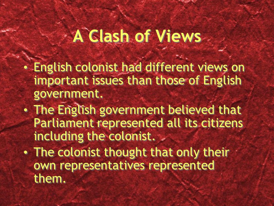 A Clash of Views English colonist had different views on important issues than those of English government.
